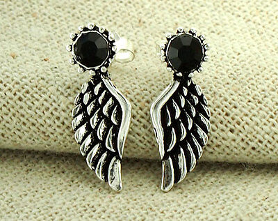 925 Sterling Silver Angel Wing Stud Earrings 7x19mm. With Crystal