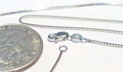 10K Pure Solid White Gold 20 inch 1MM BOX CHAIN-Lobster Lock...100% Guaranteed!