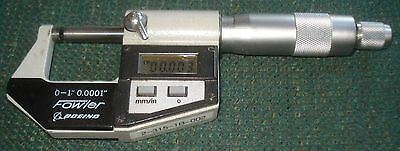 Fowler/Boeing 1 In Electronic Digital Micrometer W/ Carbide Faces .0001 Grads