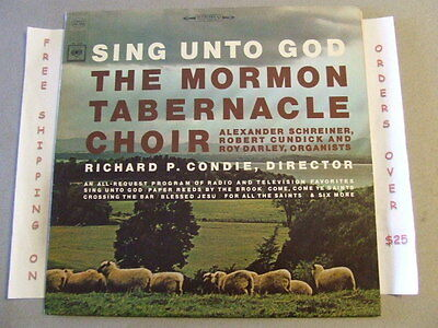 THE MORMON TABERNACLE CHOIR SING UNTO GOD LP STEREO MS 6908