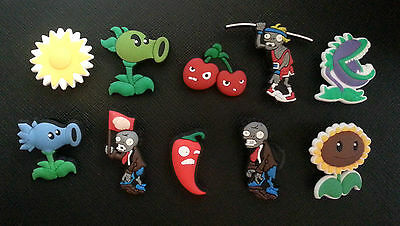 10 x Plants vs Zombies Croc Shoe Charms Crocs Jibbitz Toppers Wristbands