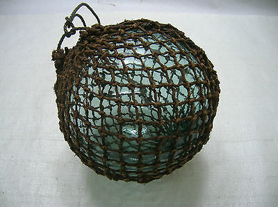 "ON SALE Vintage Glass Fishing Float 7"" in Natural NET Japanese Nautical Maritime"
