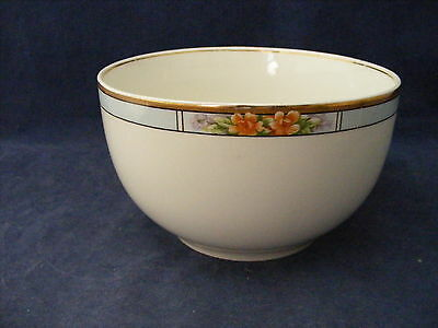 "Meakin Orange Flower Blue Band Gold Trim 5.5"" x 3.25"" Soup Serving Mixing  Bowl"