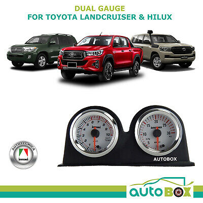 Exhaust Temp and Diesel Turbo Boost Gauge - 7 Colour- Pyro - Landcruiser Hilux