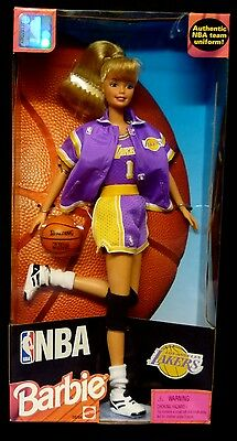 "Mattel Toys Barbie NBA Los Angeles Lakers 12"" Box Set 1998 Collector Ed New"