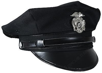 US Police 8 Point Visor Cap - Black Vintage American Force Officer Hat All Sizes