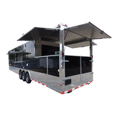Concession Trailer Gooseneck Black 8.5' x 45' BBQ Smoker Event Catering Restroom