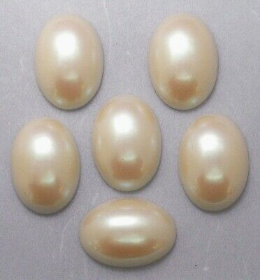 #1102 BEAUTIFUL 25x18 'CULTURA' FAUX PEARL CABOCHON - 6 Pc Lot