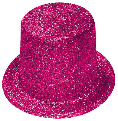 Pink Glitter Top Hat - Fancy Dress Accessories - Party