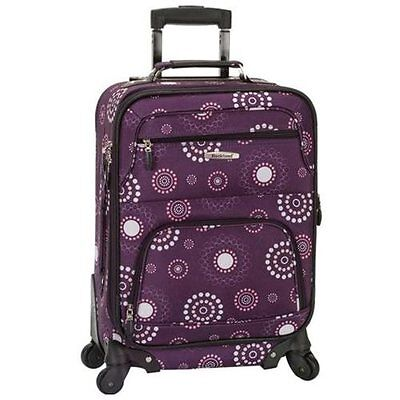 "Rockland Deluxe 20"" Expandable Carry-On Spinner Upright Luggage - Purple Pearl"