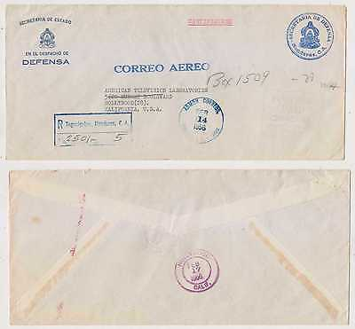 Honduras 1956 Postage Paid Official Stampless Cover Ministry Of Defense To Usa