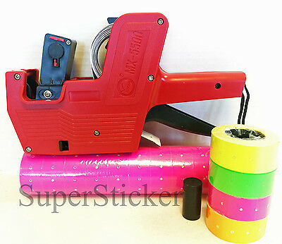 MX-5500 8 Digits Price Tag Gun Labeler Labeller Plus 5000 PINK labels +free gift