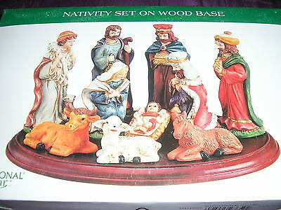 Christmas Nativity -10 Piece with Wood Base
