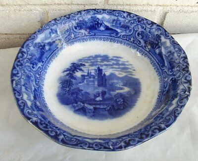 Antique English Flow Blue Watteau  Serving Bowl Man Lady Large Building, Stream