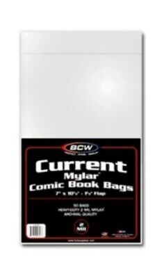 Pack of 50 BCW Current Comic Mylar Bags 2 Mil - 7x10.5 Acid Free Archival Mylars