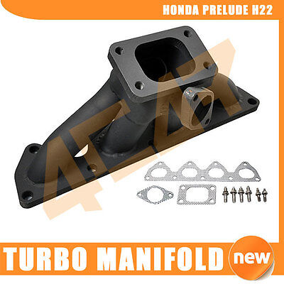 92-01 Honda Prelude H22 Exhaust Turbo Manifold T3 T4 Stainless Steel S/S Black