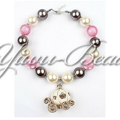 New Alloy Pendant Gift Chunky Beads Bubblegum Gumball Necklace Jewelry Girls 19