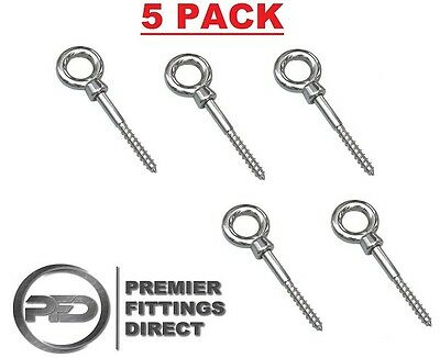 5 x 10mm x 100mm Stainless Steel Screw Wood Thread Eye Bolt Vine Eyes