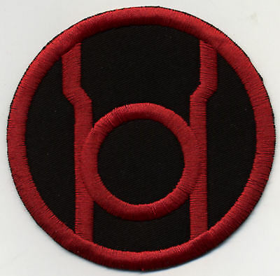 "3.5"" Red Lantern Corps Classic Style Embroidered Iron-On Patch on Black Fabric"
