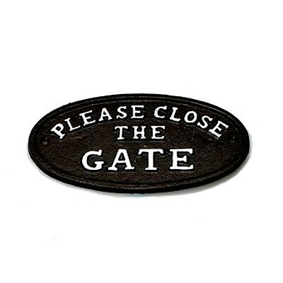 Please Close The Gate Sign Black Cast Iron Metal Garden Fence Plaque Sign New
