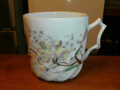 VTG SHABBY~CHIC FLORAL DECORATED MUSTACHE SHAVING BARBERS MUG CUP GREAT DESIGN