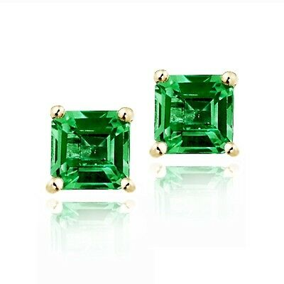 18K Gold over 925 Silver 1.5ct Created Emerald Square Stud Earrings, 5mm