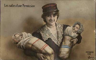 French Patriotic WWI Era Woman Soldiers Hat Baby Boy & Girl in Arms Postcard