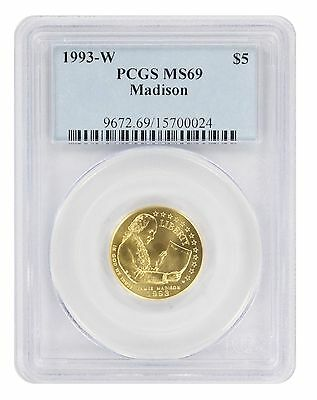 1993-W Madison Bill of Rights $5 Gold Five Dollar Mint State Commem. MS69 PCGS