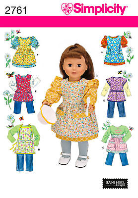 """Sew & Make Simplicity 2761 SEWING PATTERN - 18"""" Doll Clothes PINAFORES APRONS"""