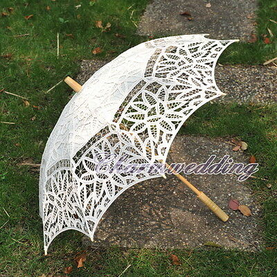 Ivory Handmade Full Battenburg Lace Parasol Vintage Wedding Bridal Umbrella NEW