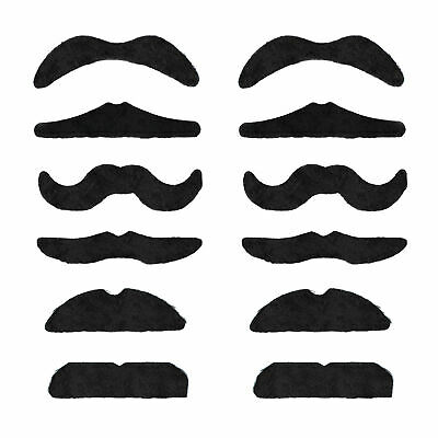 12 Self adhesive Assorted Fake Moustache Set Fancy Dress - By TRIXES