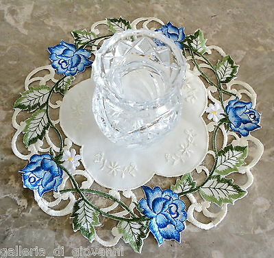 Garden Rose Blue  Lace Doily Flower Floral 11""