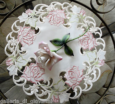 "Fancy Pink Rose Lace Doily  15""   Flower  Floral"