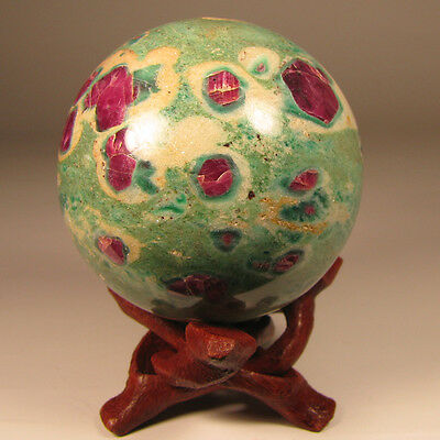"""2.2"""" RUBY in FUCHSITE Sphere Ball w/ Stand - India"""