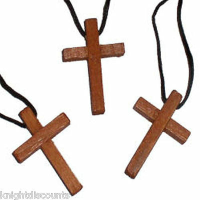 12 WOODEN CROSS Necklaces - New Wood Necklace Wholesale Bulk Lot - FREE SHIP!
