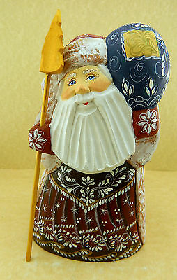 RUSSIAN CARVED HANDPAINTED WOODEN SANTA WITH GIFTS
