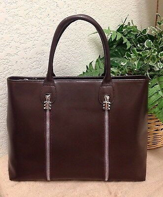 Arcadia Italy Brown Genuine Leather Briefcase Tote Bag Small VGC