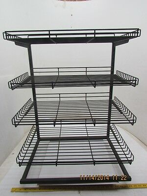 "4-Tier Adjustable Shelf Wire Frame Tray Rack Display Stand 23x30x17"" Black"
