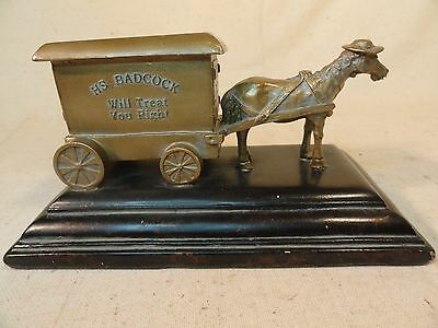 H,S, BADCOCK WILL TREAT YOU RIGHT METAL HORSE AND CARRIAGE.....FREE SHIPPING...