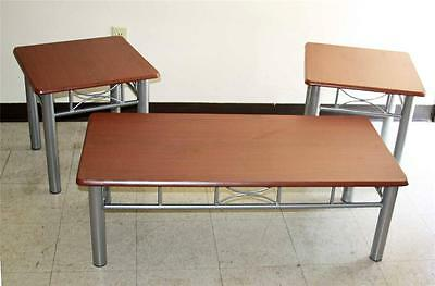3 Pc Modern FURNITURE 2 End & Coffee Occasional Tables Table Set Mahogany Finish
