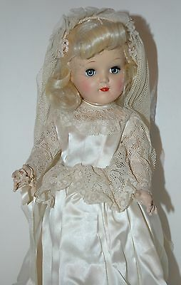 "Toni doll by Ideal  P-91  Beautiful 1940's Bride 16"" look's complete"