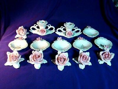14 SCHAUBACH KUNST GERMANY PINK ROSES 2 Candleholders Ashtrays 6 Place Setting