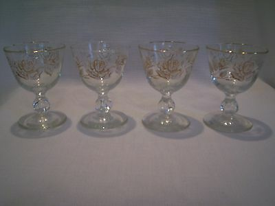 SET OF 4 LIBBEY ROSE BOUQUET FOOTED CORDIAL GLASSES