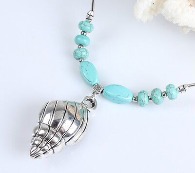 Chic Style  Tibetan silver  & Turquoise river snail  Pendant Necklace NC0226