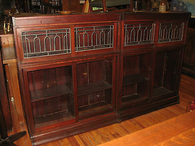 2 Matching Mahogany Leaded Glass Danner Sliding Door Bookcase Stacking Sectional