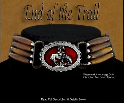 End Of Trail Carved Buffalo Bone, Bead & Leather Choker Necklace - Gift Sale *