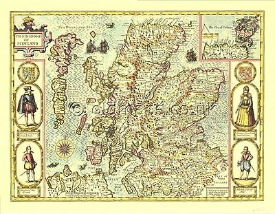 Ireland Eire Replica John Speed 17c Old Map full size Giclée printed COPY