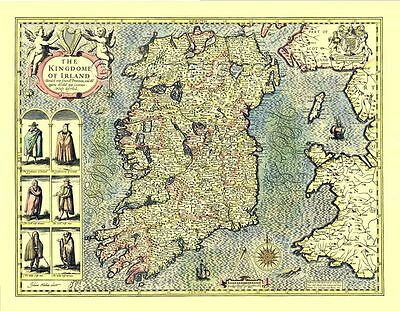 Ireland Eire Replica John Speed 17c. Old Map full size Giclée printed COPY