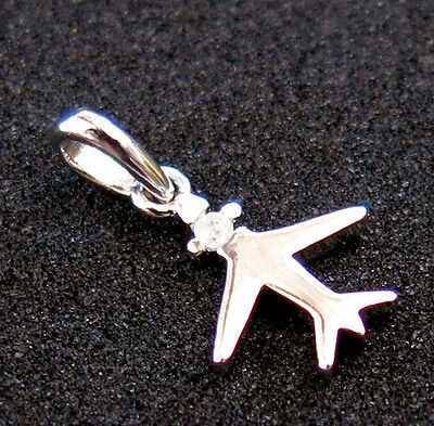 Sterling Silver Airplane Pendant Diamond Charm STAMPED 925 Not Scrap vintage NR