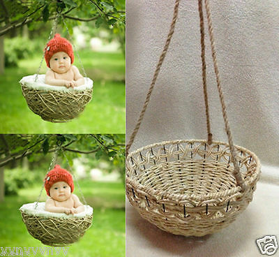 New Creative Photography Prop Handmade Woven Basket for Newborn Baby D-2